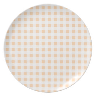 Peach Orange and White Gingham Melamine Plate