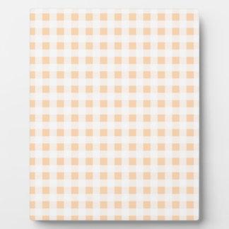 Peach Orange and White Gingham Plaque