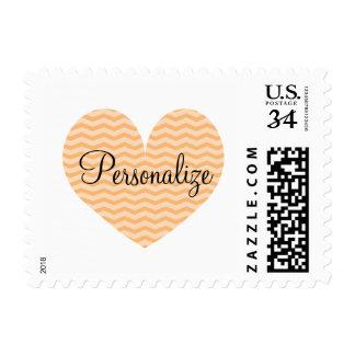 Peach orange color chevron pattern heart stamps