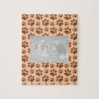 peach orange dog paw print pattern jigsaw puzzle