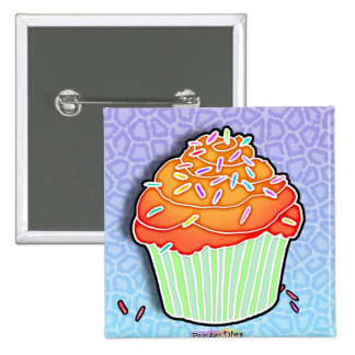 Peach - Orange Frosted CUPCAKE BUTTON