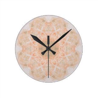 Peach Orange Mandala Round Clock