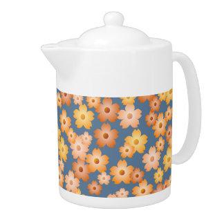 Peach Orange Yellow Blue Floral Pattern Teapot