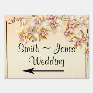 Peach Orchid Posh Wedding Direction Sign