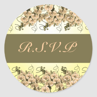 Peach orchid rsvp stickers - customizable template
