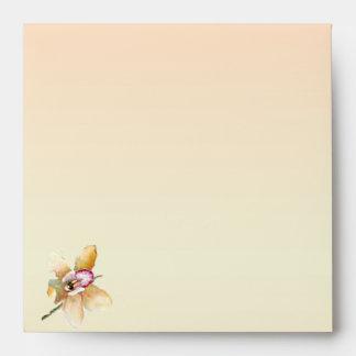 Peach Orchid Watercolor Posh Wedding Envelope