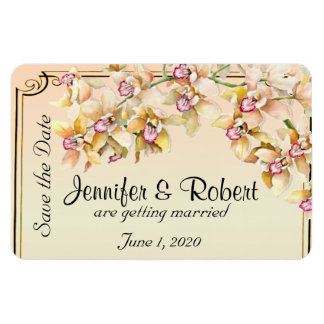 Peach Orchid Watercolor Posh Wedding Save the Date Magnet