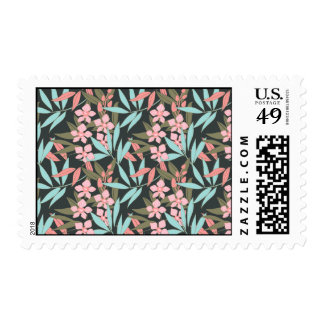Peach Orchids and Turquoise Leaves Large Postage Stamp