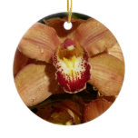 Peach Orchids with Raindrops Beautiful Floral Ceramic Ornament