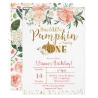 Peach Our Little Pumpkin Is Turning One Invitation