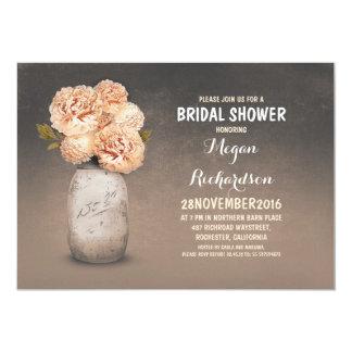 Peach painted mason jar rustic bridal shower card