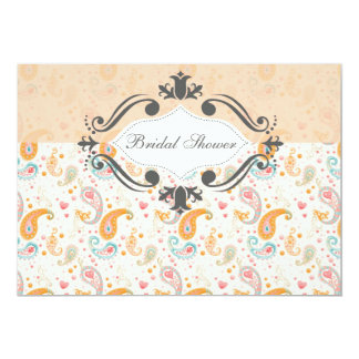 Peach Paisley Customizable Bridal Shower Card