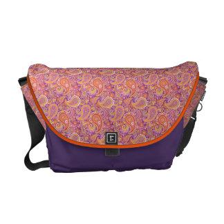 Peach Paisley on Purple Messenger Bags