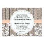 "Peach Pale Coral Wood Lace Wedding Invitations 5"" X 7"" Invitation Card"