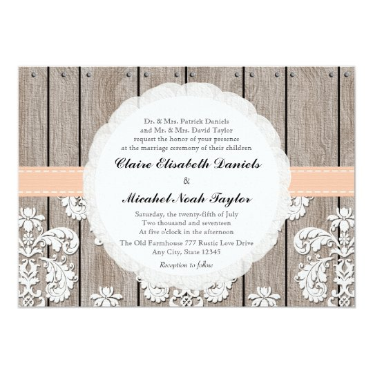 Peach Pale Coral Wood Lace Wedding Invitations
