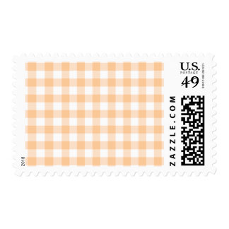 Peach (Pastel Orange) and White Gingham Postage