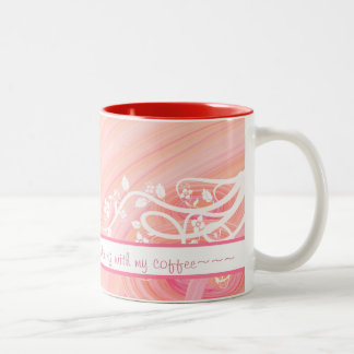 Peach Pastel Spirals and Filigree Artwork Two-Tone Coffee Mug