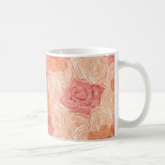Peach pastel vintage rose pattern coffee mug