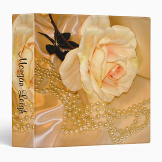 Peach Pearls and Rose 3 Ring Binder