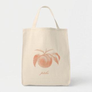 Peach (Pêche) Organic Grocery Tote Bag