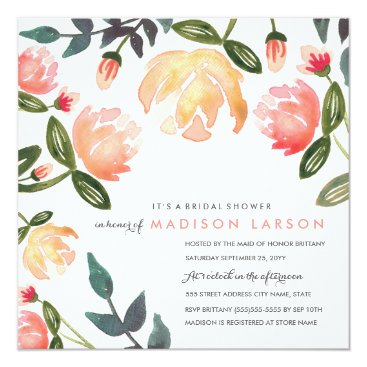 origamiprints Peach Peonies Bridal Shower Card