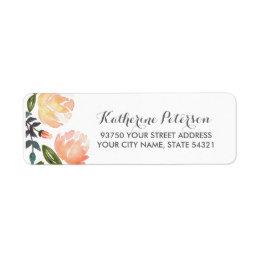 Peach Peonies Label