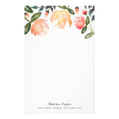 Peach Peonies Personalized Stationery at Zazzle