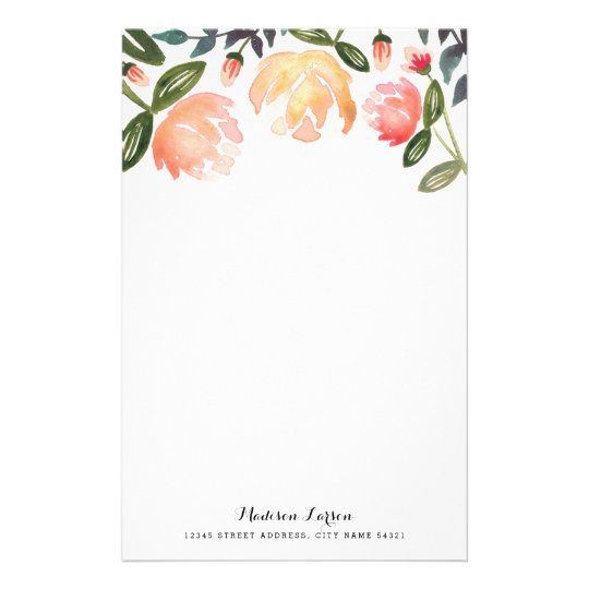 27 Personalized Stationery Templates: Peach Peonies Personalized Stationery
