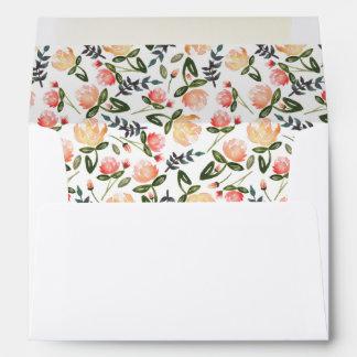 Peach Peonies Pre-Addressed Envelope