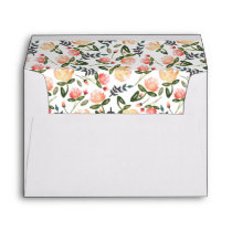 Peach Peonies Pre-Addressed Envelope