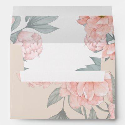 Peach Peonies Sage Floral Budget Wedding Envelope
