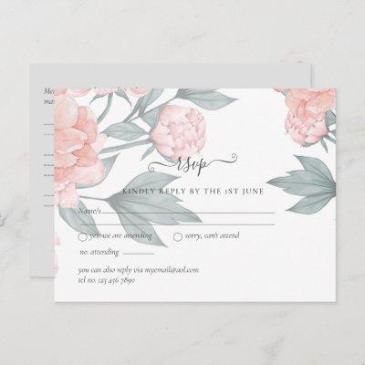 Peach Peonies Sage Floral Budget Wedding RSVP Postcard