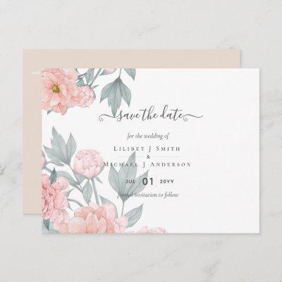 Peach Peonies Sage Floral Wedding Save Dates Postcard