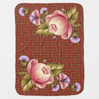Peach Peonies Stroller Blanket