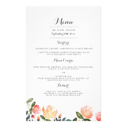 Peach Peonies Wedding Dinner Menu