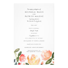 Peach Peonies Wedding Programs