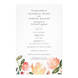 Peach Peonies Wedding Programs