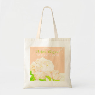 Peach Peony Bridesmaids or Maid of Honor Gift Tote Bag