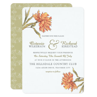 Peach Peony Floral Wedding Invitation