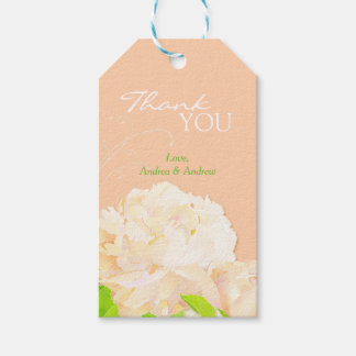 Peach Peony Floral Wedding Thank You Gift Tags