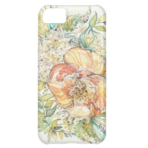 Peach Peony Watercolor iPhone Case iPhone 5C Cases