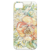 Peach Peony Watercolor iPhone Case iPhone 5 Cover
