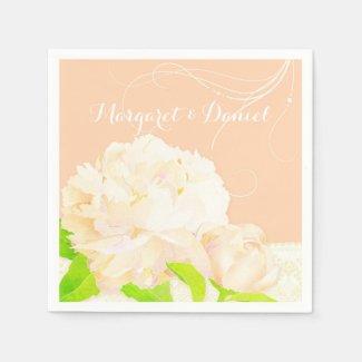 Peach Peony Wedding Favor Party Paper Napkins
