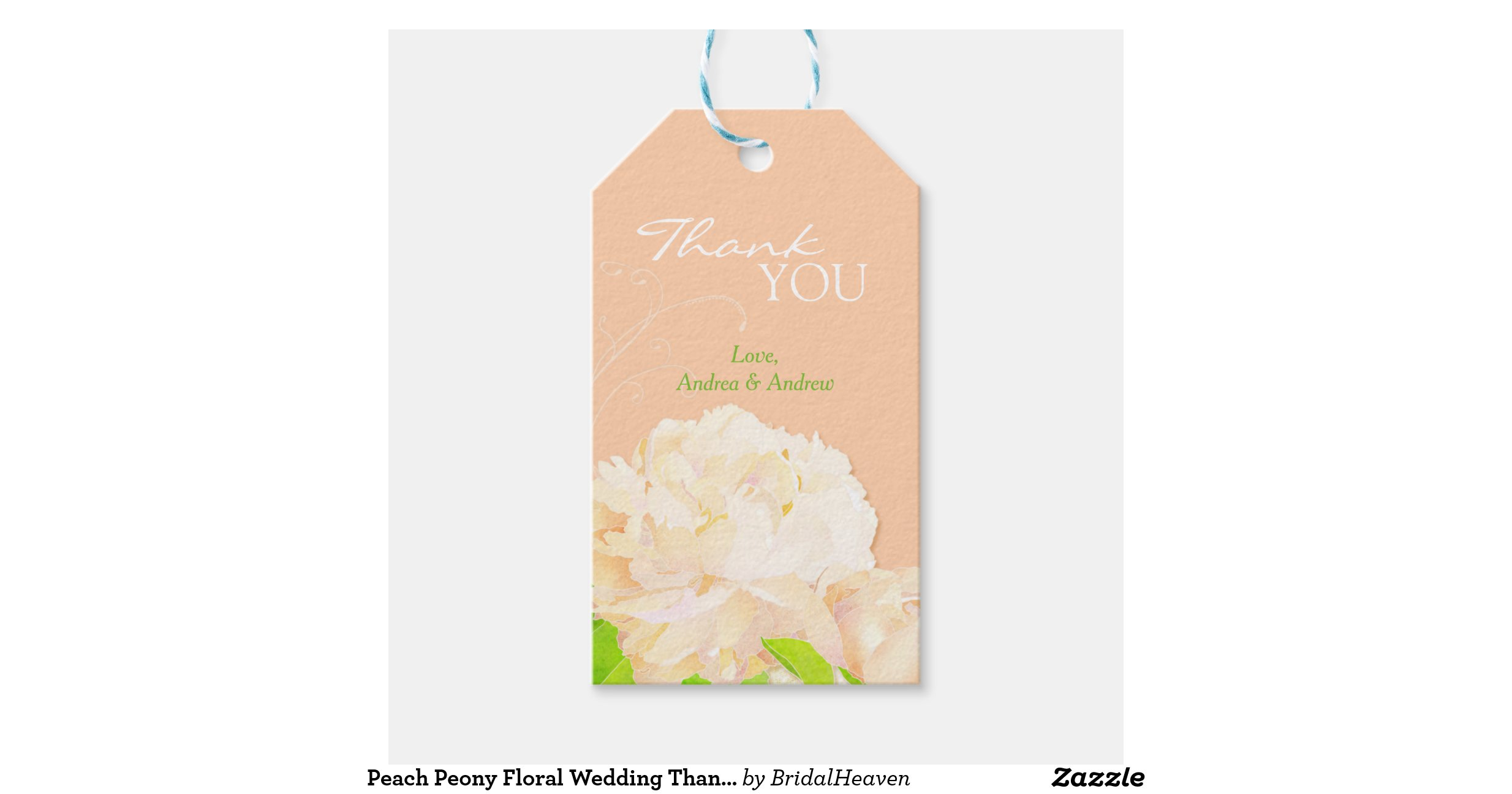 Peach Peony Wedding or Bridal Shower Thank You Tag Pack Of Gift Tags ...