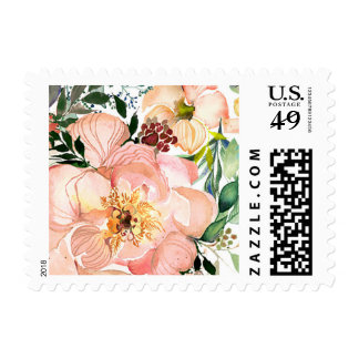 Peach Peony Wedding Stamp