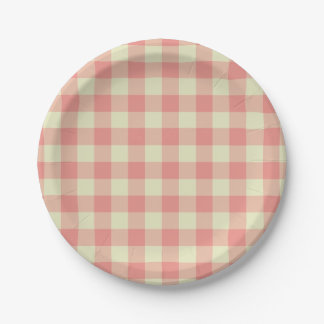 Peach Pink and Cream Gingham Pattern Paper Plate