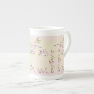 Peach Pink and Green Floral Victorian Art Porcelain Mug