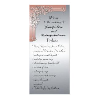 Peach Pink and Silver Wedding Program Rack Card