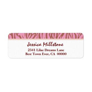 Peach Pink and Tan Zebra Stripes V01 Label