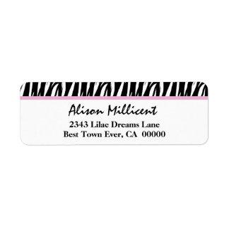 Peach Pink and Tan Zebra Stripes V03 Label